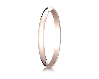 2MM Domed 14K Rose Gold Band Men's or Women's Basic Wedding Ring with Custom Engraving Half Round