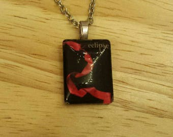 Twilight Inspired Eclipse Book Page Cover Necklace