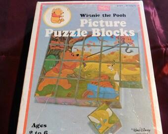 Vintage Sears Winnie the Pooh Picture Puzzle Blocks