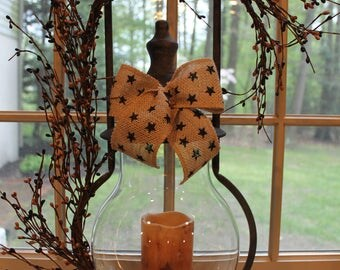 Vintage Looking Steeple Lantern with Berries,LED Timer Candle and Burlap Bow