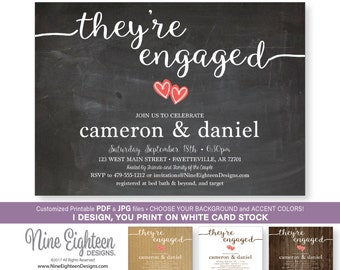 Engagement Party INVITATION. Printable PDF/JPG. I design, you print.