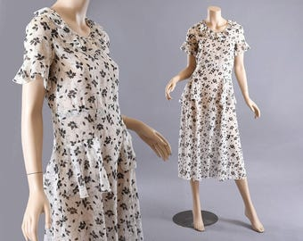 1920s - 30s Black & White Semi-Sheer Cotton Dress, Gorgeous