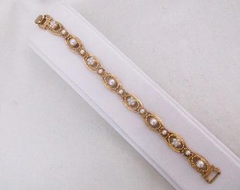 Vintage FLORENZA Bracelet Faux Pearl Gold Tone Link Bracelet Jewelry