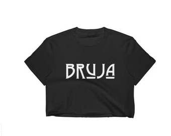 Bruja crop top- Goth black top, Witch clothing, Witch crop top