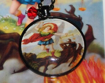 Saint Michael Archangel San Miguel Arcángel Large Photo Pendant Necklace