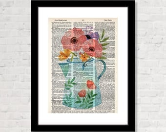 Watering Can with Flowers  on Dictionary Page  - Eco Friendly -  Dictionary Print Art - Boho - Farmhouse