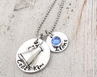 Cheer Coach Necklace - Coach Cheer Necklace - Cheer Coach Necklace - Personalized Cheer Coach Charm Necklace - Megaphone Cheer Charm