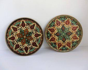 Vintage Enamel Byzantine  Mozaic on Brass Plates. 1970's Wall Decor