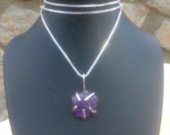 Amethyst Silver Necklace, Rough Amethyst Silver Pendant Necklace, Claw Set Gemstone Silver Pendant, Amethyst Silver Necklace