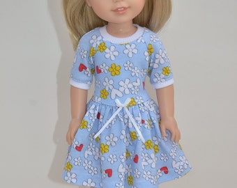 14.5 Inch Doll Clothes  -Knit  DRESS  fits Dolls Like Wellie Wishers .