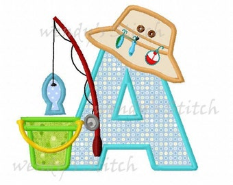 set of 26 fishing lure applique letters machine embroidery design instant download