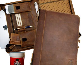 Conference folder - Ring binder HELMHOLTZ brown leather - BARON of MALTZAHN