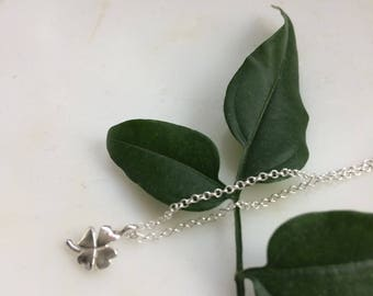 Four Leaves Clover Necklace - Sterling Silver Clover Necklace - Shamrock Necklace  - Good Luck Charm Necklace