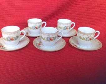 4 Sets  Cups and Saucers, Occupied Japan Gold Trim, tea party, wedding,