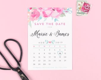 Save the Date - Selena - Watercolour Wedding Flowers - Spring/Summer Wedding