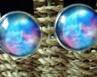 Nebula/Galaxy Cabochon Clip on Earrings