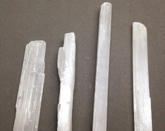 Rough Medium Selenite Wands / Sticks for Removing Negativity in House Blessings, use in Crystal Grids, and for Protection and Purifying