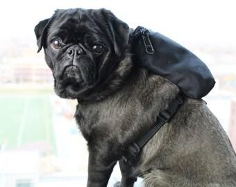 Dog Harness Backpack - Solid Black - Pug, Frenchie & More