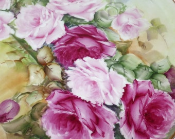 Antique Hand Painted Limoges Large Roses  Plate Platter Charger Tray Artist Signed 13.75''