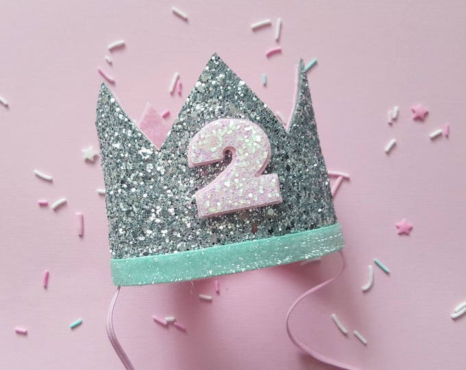 Birthday Crown || Pink and Mint Birthday || Pink and Mint || Silver Crown || Birthday Girl || 2nd Birthday || 2 Crown || Birthday Girl