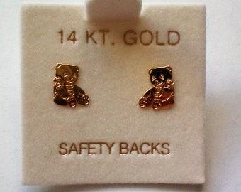 Petite Teddy Bear 14K Gold Pierced Earrings - 5065