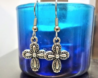 CROSS EARRINGS - surgical stainless steel ear wires - hypoallergenic, sensitive ears earring wires