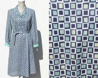 Geometric Vintage 60s Style Dress • 80s Button Down Collared Shirt Dress With Sleeves • Plus Size Abstract Aqua Blue Midi Mad Men Mod Dress