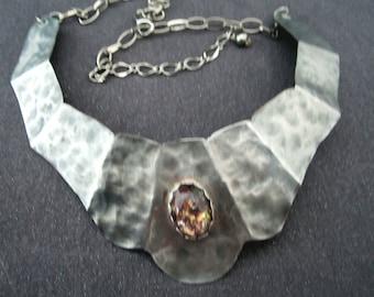 bib necklace, metal bib, gemstone necklace, silver necklace, silver jewelry, fire opal necklace, modern jewelry, modern necklace, gift women