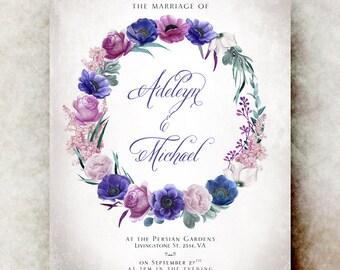 Purple violet Wedding Invitation printable - elegant wedding invitation, anemones wedding invitation, romantic wedding invitation