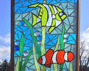 Tropical Fish Stained Glass Mosaic Panel - Clown Fish Stained Glass Panel - Ocean Home Decor - Aquarium Mosaic Stained Glass Tropical Fish