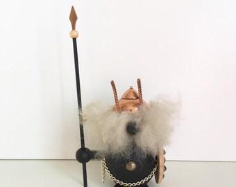 Vintage wooden figurine Viking - Scandinavian modernist mid century home decor - Danish teak
