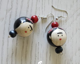 "Earrings ""Frida Kahlo"" hand painted wooden beads"