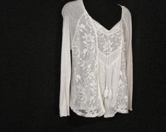 White Boho Hippie Vintage Cotton  Embroidered Blouse L