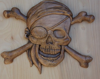 Pirate Decor ~ Pirate Skull and Bones ~ 3D Wooden Pirate Art ~ Skull and Crossbones ~ Halloween Decor ~ Pirate Wood Carving ~ 6.5 x 5.5  Oak