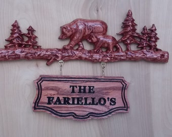 """Bear Family Name Sign ~ WOOD WALL ART Sign ~ Personalized Family Name Est Date Sign~ Rustic Wood Sign ~ Outdoor Family Name Sign - 22"""" X 13"""""""