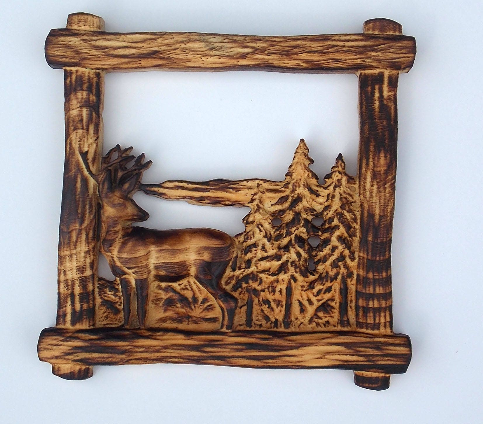 Burnt pine framed deer in forest wood carving wall hanging for Cabin in the woods wall mural