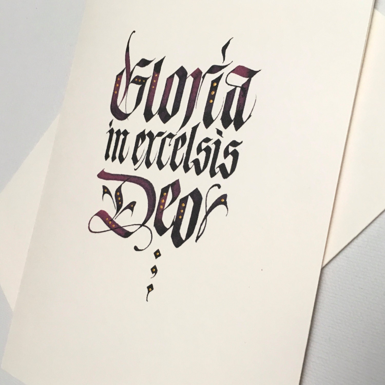 Hand embellished calligraphy christmas card gloria in excelsis deo hand embellished calligraphy christmas card gloria in excelsis deo christmas cards gothic kristyandbryce Images