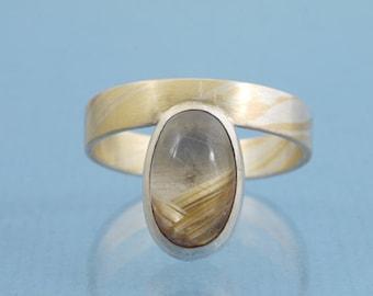 Mokume Gane Rutil Quartz Red Gold Yellow Gold // Ladies Ring // 18 ct, 750 Red & Yellow Gold, 925 Silver // Size 63.5