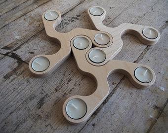 Wooden Tea Light Candle Holder - Candle Holder Wood - Tea light Candle Holder - Plywood Birch - Modular Candle Holder