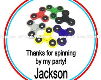 NO SPINNERS INCLUDED Set of 12 Personalized Fidget Spinner Birthday party Favor Thank You Tags Or Stickers