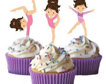 Cute little gymnast girls Cupcake Toppers Birthday Party Decorations Set of 12 for your gymnastic party