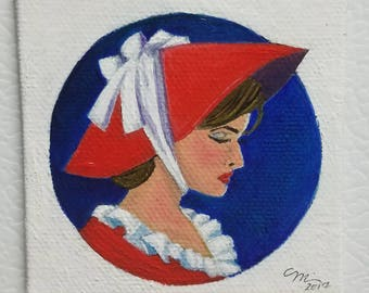 """ORIGINAL Minature Oil Painting """"Lovely Lady Louise"""" Magnet"""