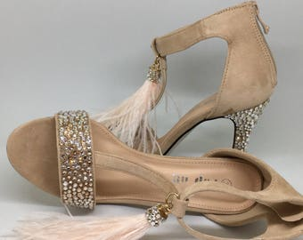 Wedding Shoes/ Swarovski Heels / Bridal or Bridesmaids Shoes / Feather Tassels/ Shoes for the Bride