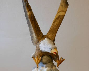 Ceramic Bald Eagle Figurine w/ Wooden Stand