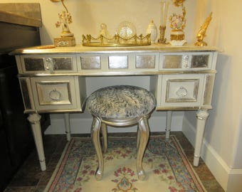 DREXEL VANITY PAINTED with Silver Leaf Accents