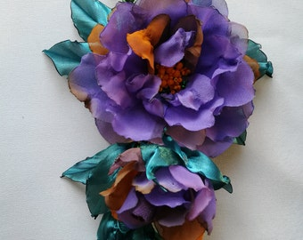 Wedding dress accessories,great floral dress accessory,purple flower accessories, 100% handmade.