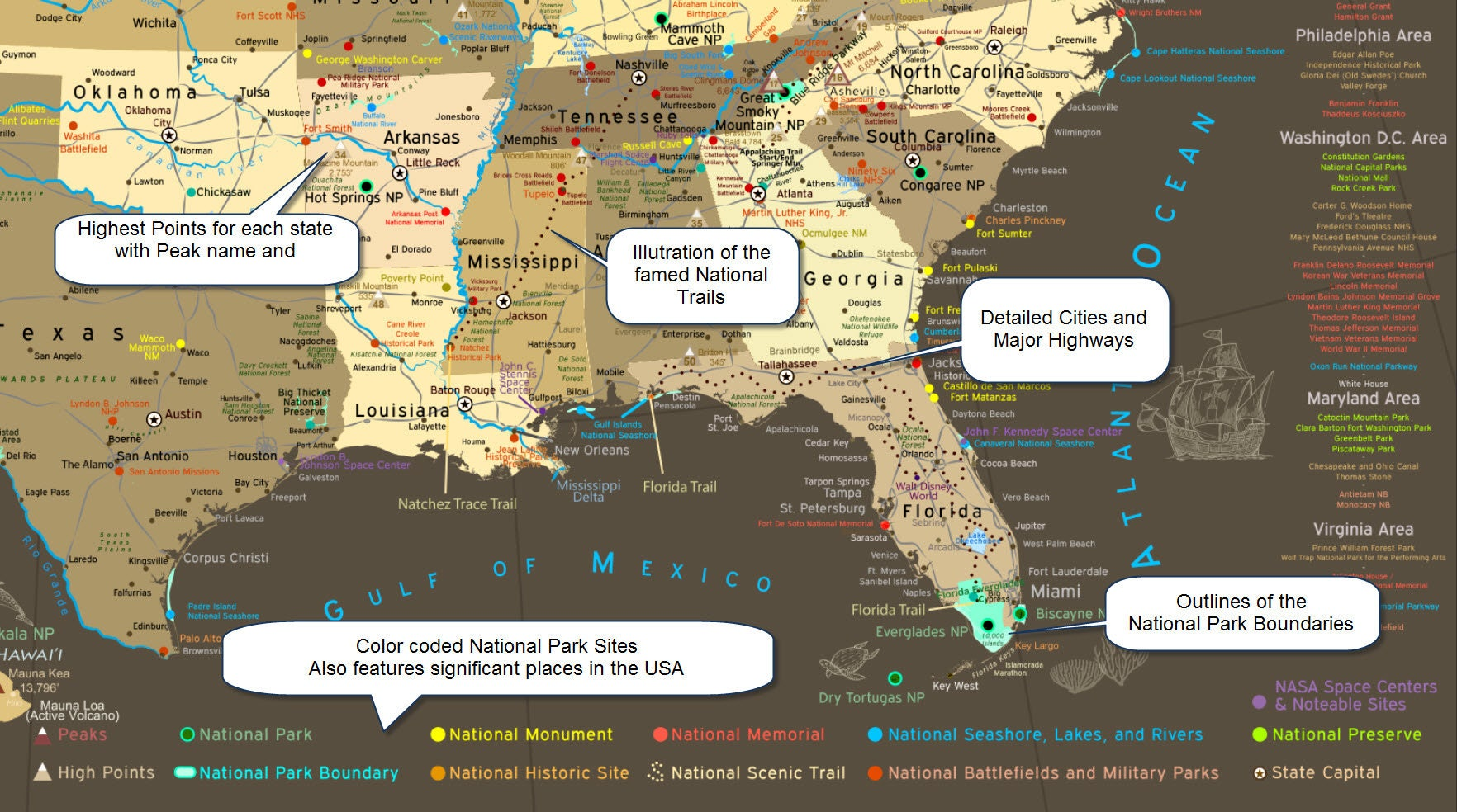 US Map  National Park Map Poster Illustrated USA Map Camping - Rv parks usa map