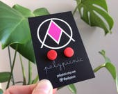 Red Dot Studs // Polymer Clay Stud Earrings Handmade Hand Rolled with Sterling Silver Posts