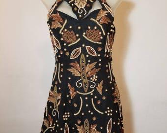 FREE  SHIPPING  1980 Bead  Sequin  Mini  Dress