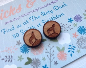 Wolf Earrings - 1x pair of cherry wood earrings with howling wolf design -  15mm wooden earrings set on surgical steel posts
